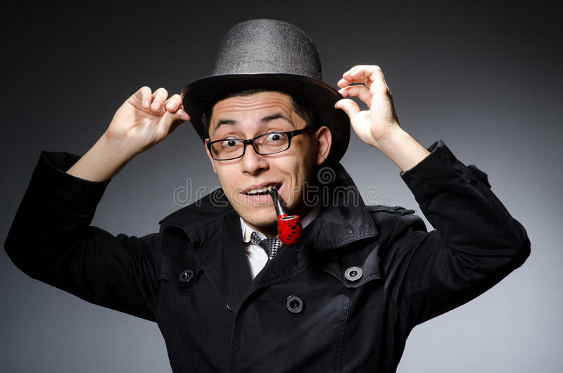 Download Funny detective with pipe stock image. Image of private - 42202325