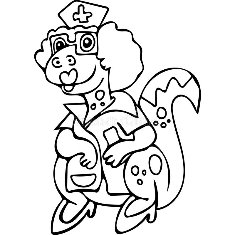 Funny Dinosaur Nurse Coloring Pages Stock Illustration ...