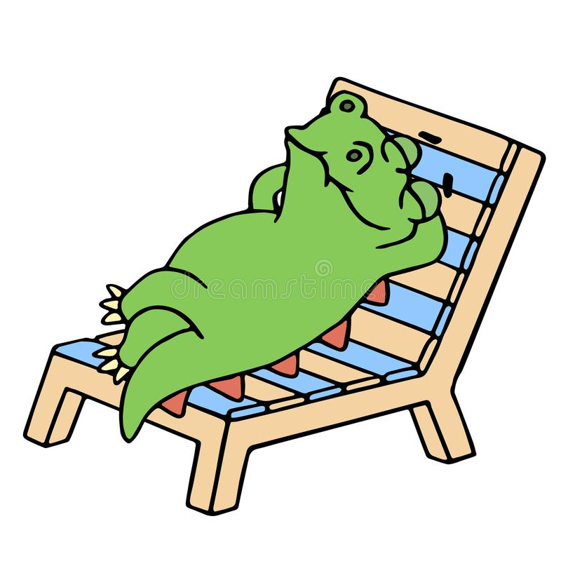 Funny dinosaur resting on a deck-chair vector illustration