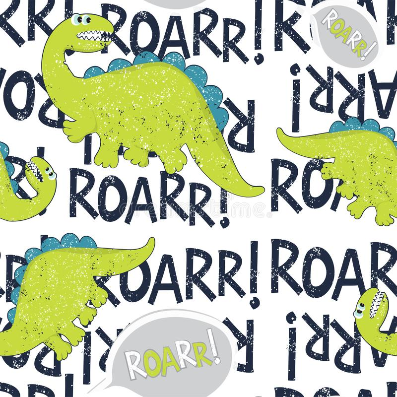 Funny dinosaur seamless pattern fabric. Cute dinosaur background with graphic font. Vector seamless pattern stock illustration