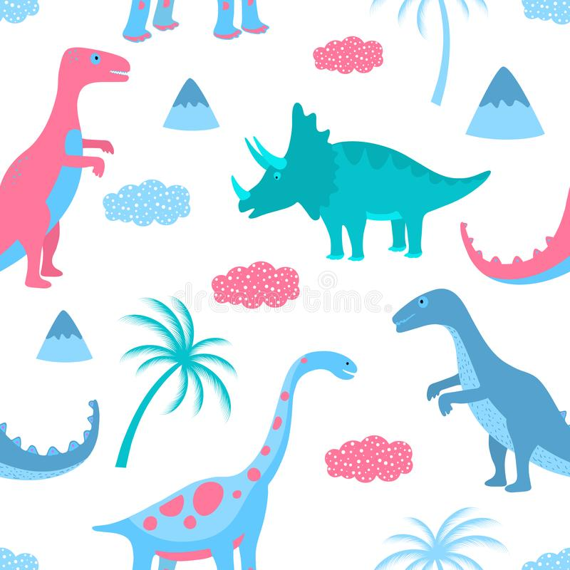 Funny dinosaurs, clouds and palm trees. Hand drawn seamless pattern for nursery, textile, kids apparel. vector illustration