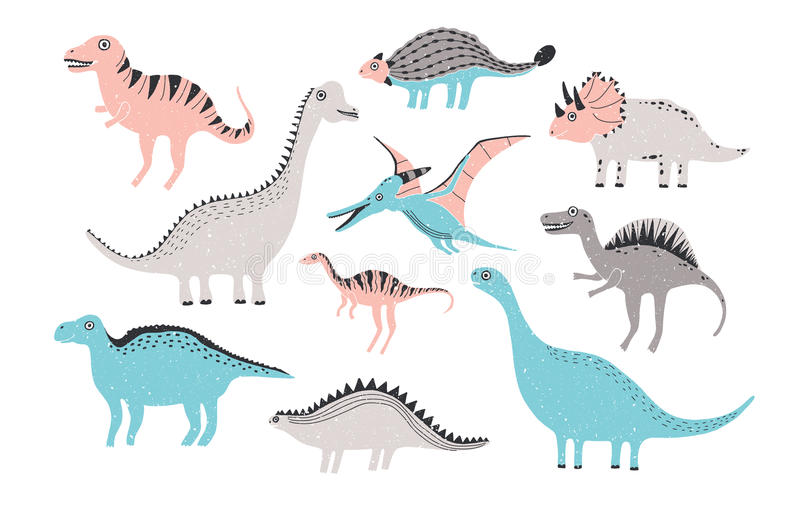 Funny dinosaurs collection. Cute childish characters in pastel colors. Colorful hand drawn illustration. Funny dinosaurs collection. Cute childish characters in royalty free illustration