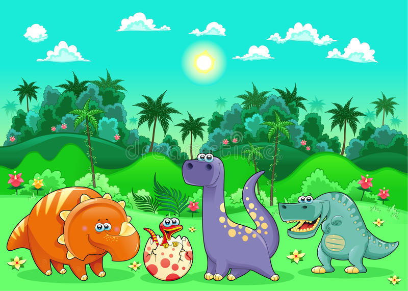 Funny dinosaurs in the forest. vector illustration
