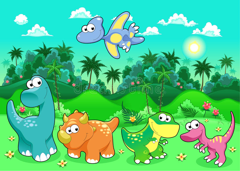 Funny dinosaurs in the forest. royalty free illustration