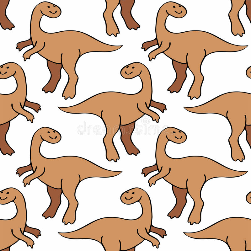 Funny dinosaurs pattern. Childrens colorful seamless pattern with the image of funny dinosaurs vector illustration