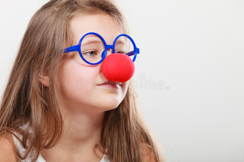 Funny disguise for little girl royalty free stock photos