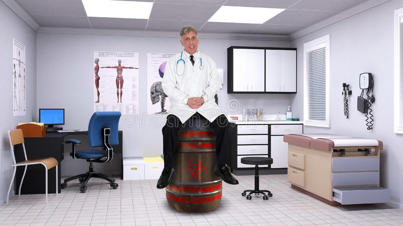 Funny Doctor Biohazard Toxic Waste. A funny doctor is sitting on a barrel of biohazard material and toxic waste. Bio hazard waste can be dangerous and affect royalty free stock photography