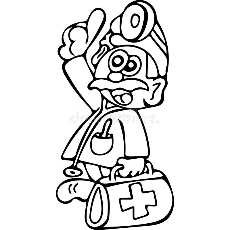 Funny Doctor Coloring Pages Stock Illustration - Illustration of ...