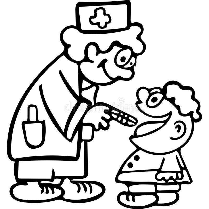 Download Funny Doctor Kids Coloring Pages Stock Illustration