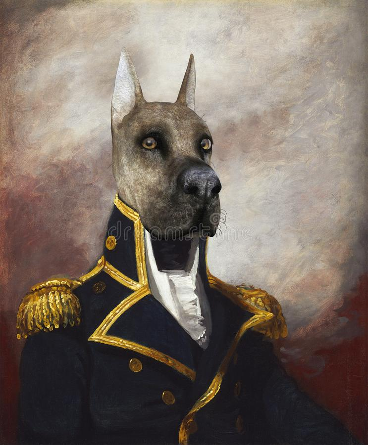 Funny Dog General, Commodore, Oil Painting vector illustration