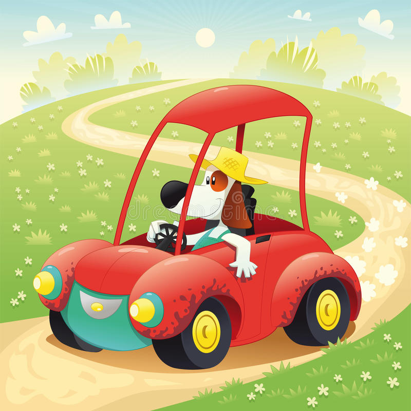 Funny dog on a car. Cartoon and illustration, isolated objects