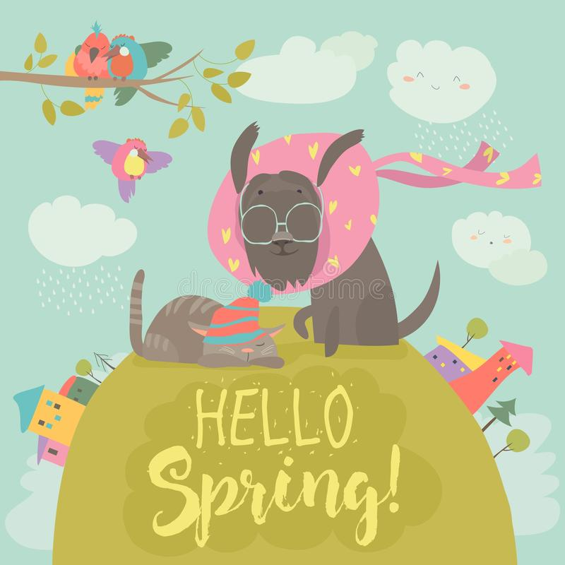 Funny dog and cute cat meeting spring stock illustration