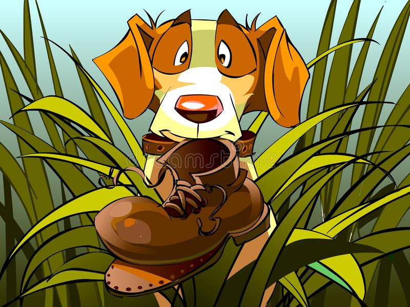 Funny dog on the hunt found ragged boot. Cartoon illustration royalty free illustration