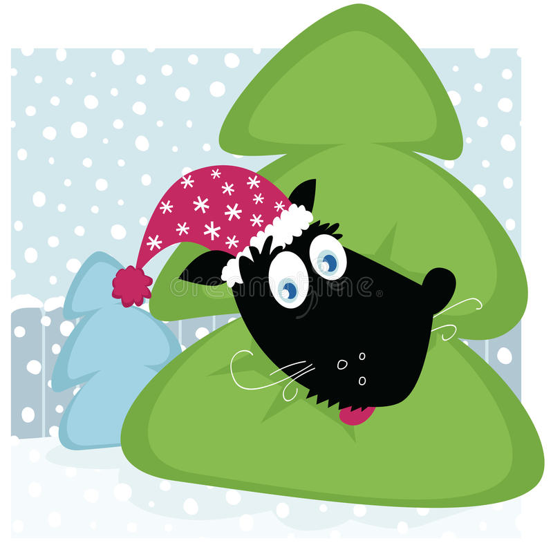 Funny dog inside christmas tree royalty free illustration