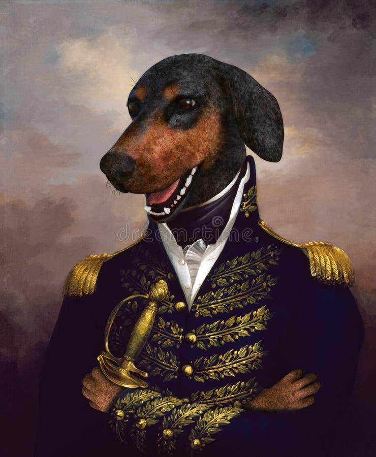 Funny Dog Oil Painting, Generale immagine stock libera da diritti