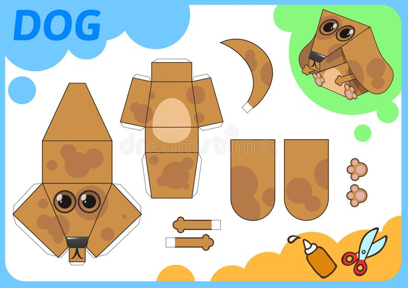 Funny Dog Paper Model. Small home craft project, paper game. Cut out, fold and glue. Cutouts for children. Vector royalty free illustration