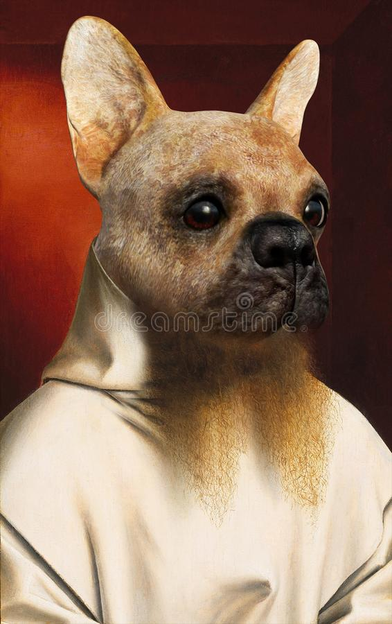 Funny Dog Portrait, Oil Painting royalty free stock images