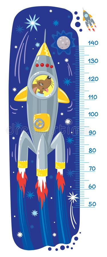 Funny dog in rocket. Meter wall or height chart. Cheerful funny dog or puppy in space rocket. Height chart or meter wall or wall sticker. Childrens vector vector illustration