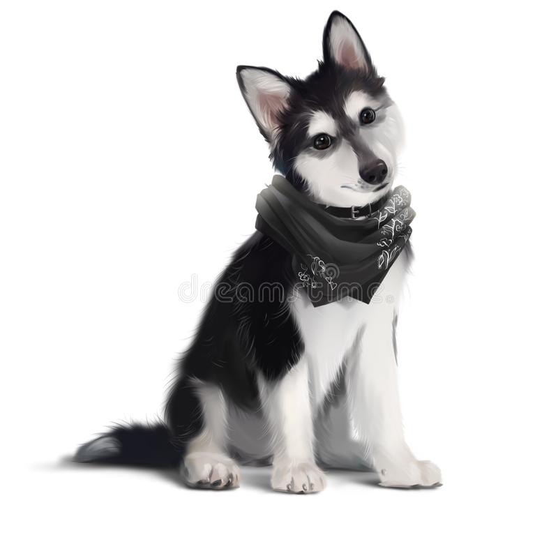 Funny Dog in a scarf sitting on the floor. Watercolor royalty free stock photography