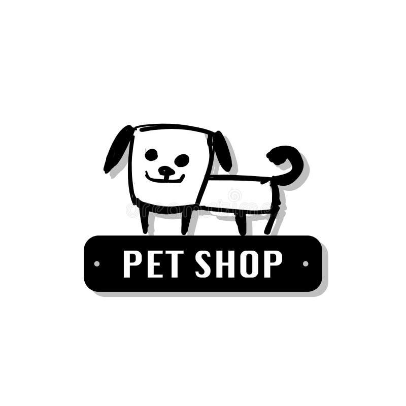 Funny dog, pet shop logo for your design stock illustration