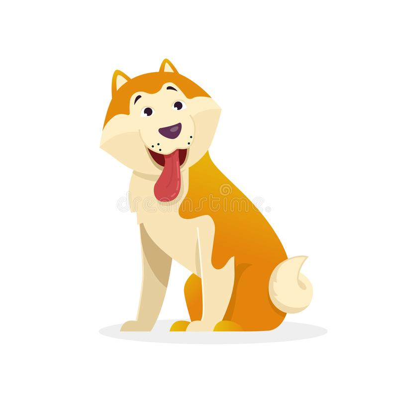 Funny dog with tongue wags tail sitting vector flat illustration. Dog cartoon character isolated on white background. royalty free illustration