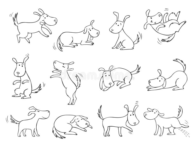 Funny dogs. Collection of funny contour dogs in different emotional states stock illustration