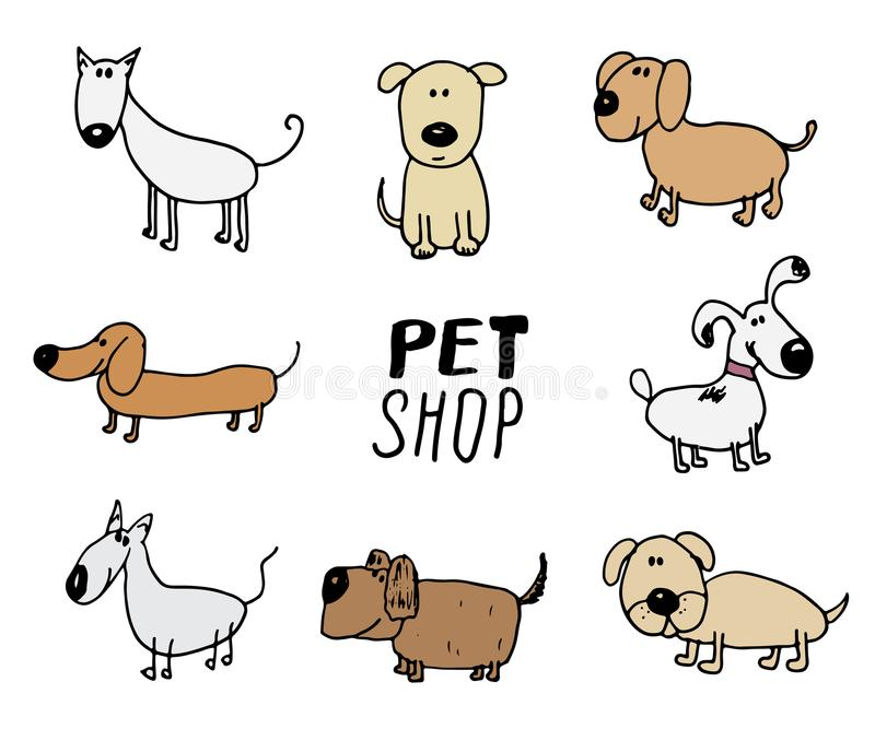 Funny Dogs doodle Set. Hand drawn sketched pets collection Vector Illustration on white background. vector illustration