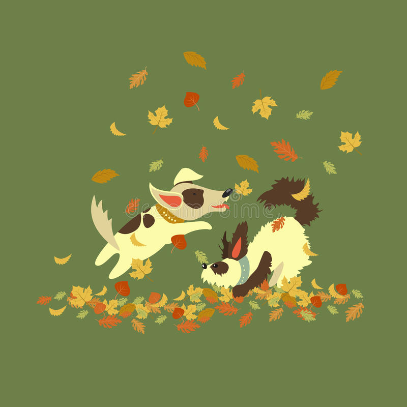 Funny dogs playing with autumn leaves royalty free illustration