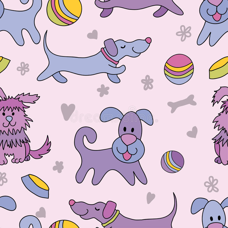 Download Funny Dogs Seamless Pattern Stock Vector - Illustration of pastime, hairy: 24139038
