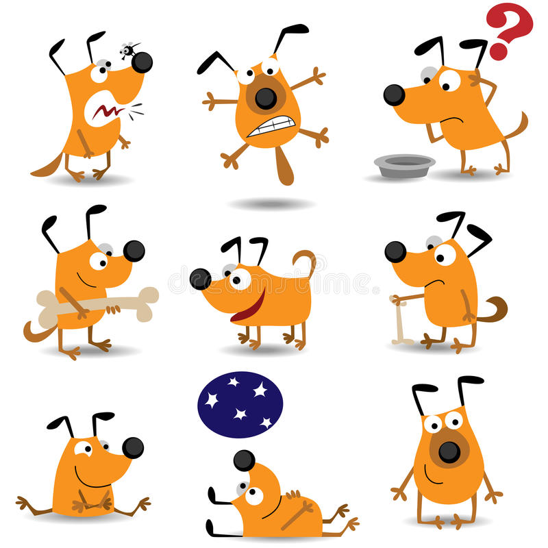 Funny dogs set stock illustration