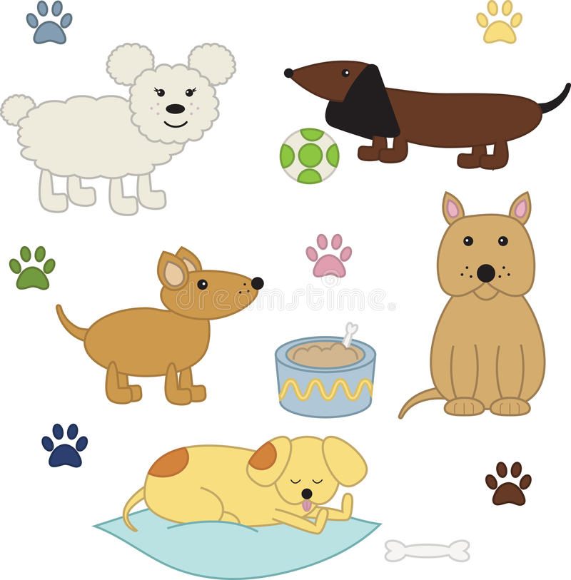 Funny dogs vector set royalty free illustration