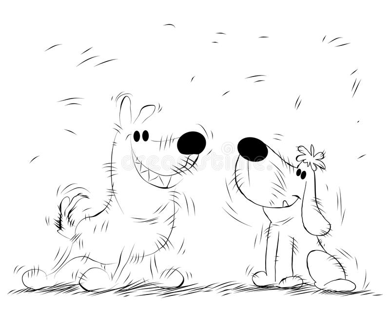 Funny dogs for a walk stock illustration