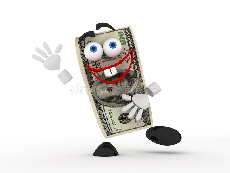 Funny dollar. Ridiculous cheerful funny dollar banknote royalty free illustration