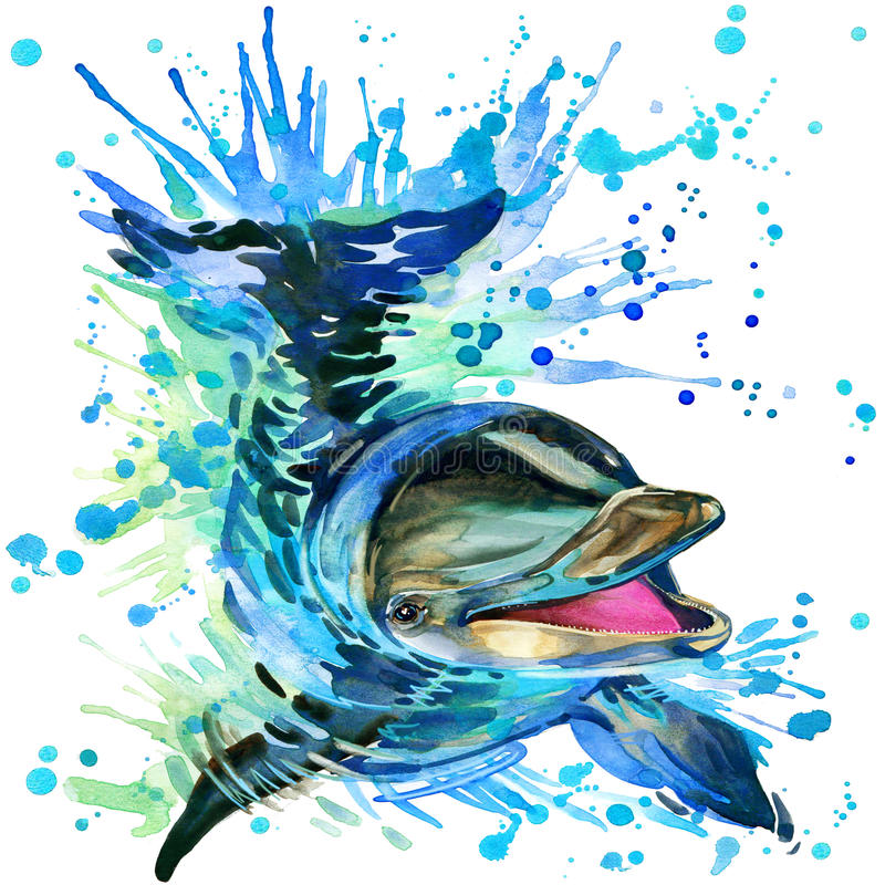 Funny dolphin with watercolor splash textured royalty free illustration
