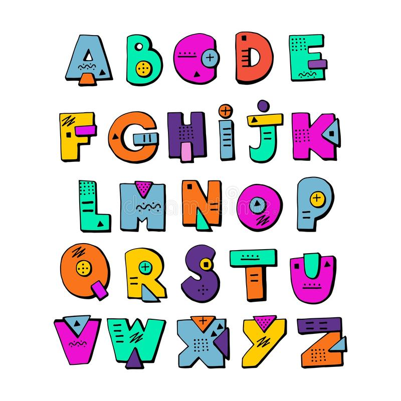 Download Funny Doodle Alphabet Colorful Creative Design Letters ABC Stock Vector