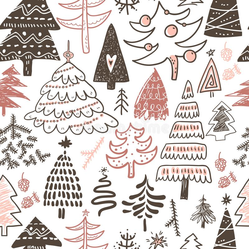 Funny doodle christmas pine trees seamless pattern. Hand kids dr stock illustration