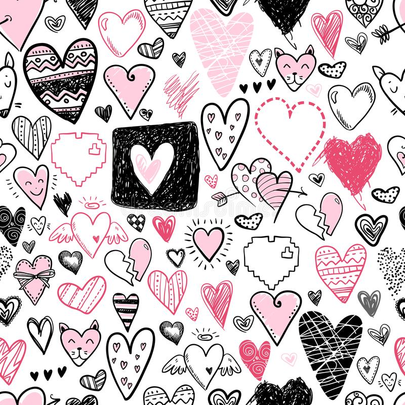 Funny doodle hearts icons seamless pattern. Hand drawn Valentine vector illustration