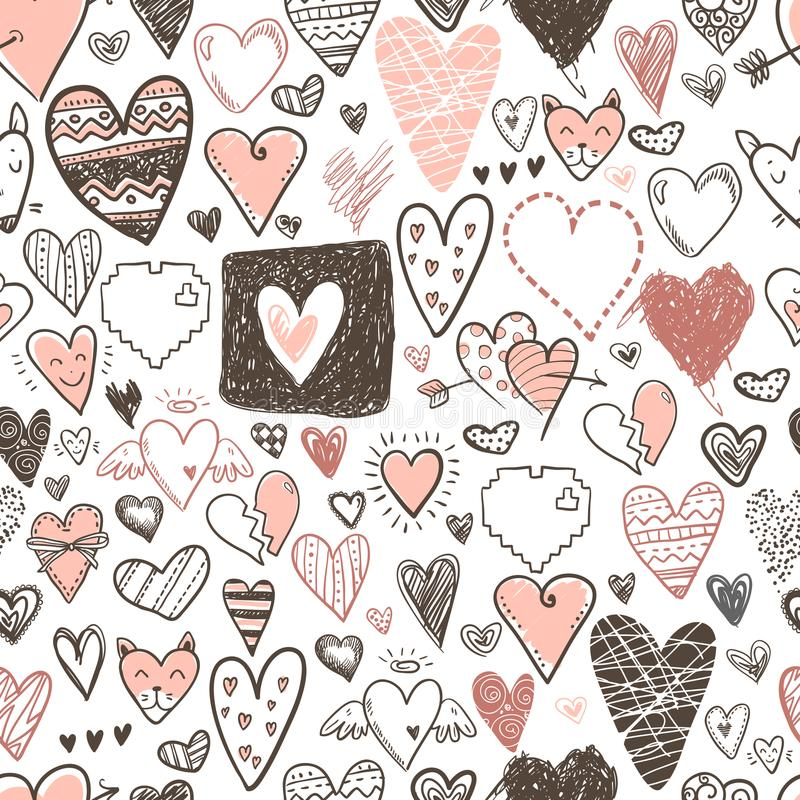 Funny doodle hearts icons seamless pattern. Hand drawn Valentine. S day, wedding design. Cute elegant style, modern design royalty free illustration