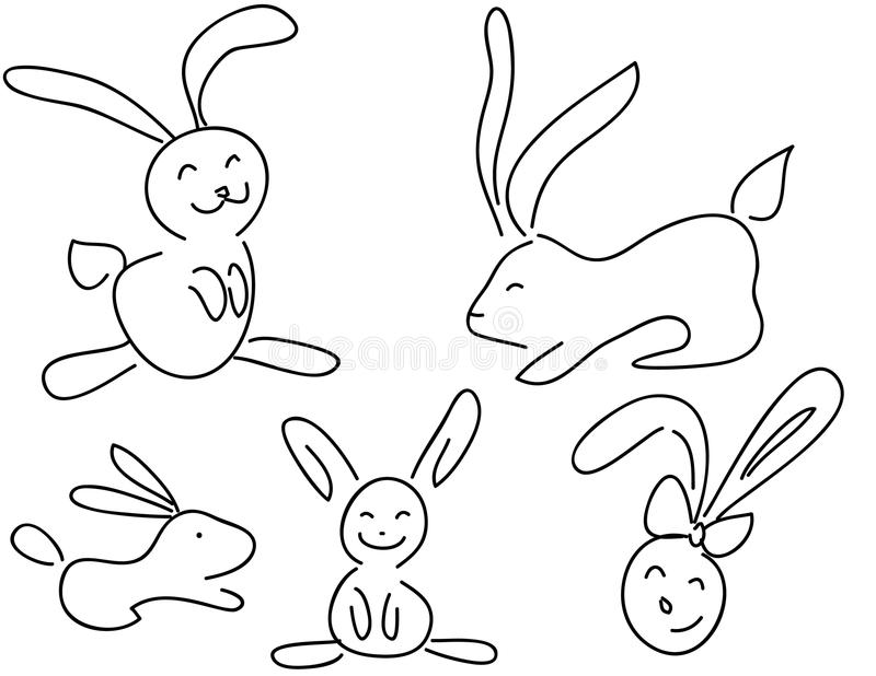 Funny doodle rabbits royalty free illustration