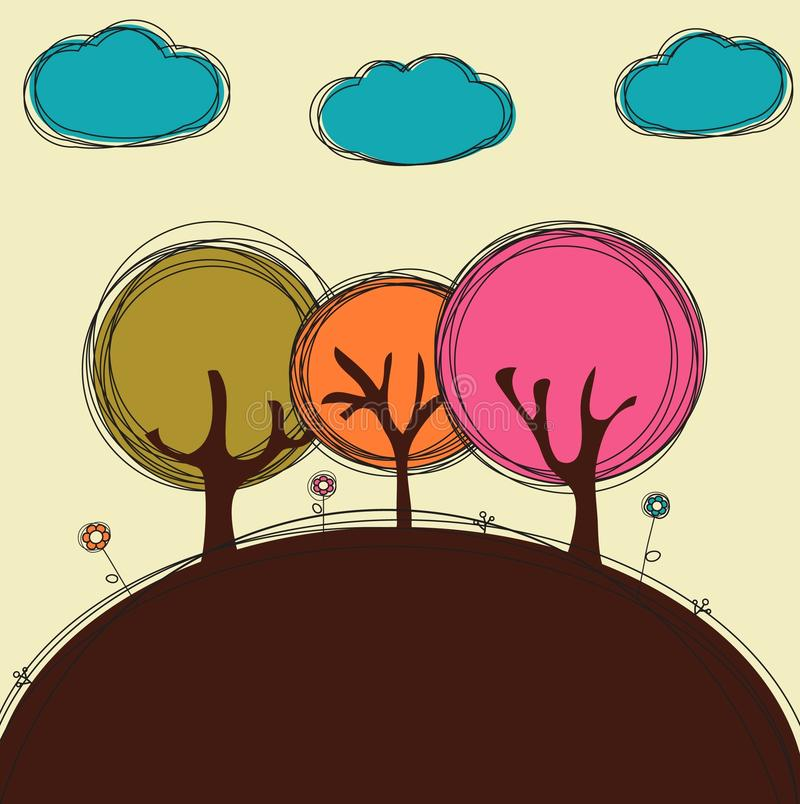 Funny doodle trees and clouds vector illustration
