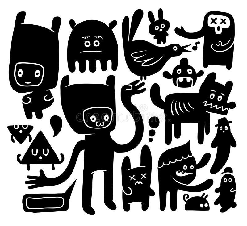 Funny doodles. Black and white funny doodles collection stock illustration