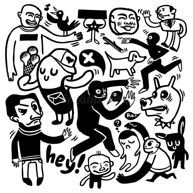 Funny doodles. A hand drawn funny doodles set vector illustration