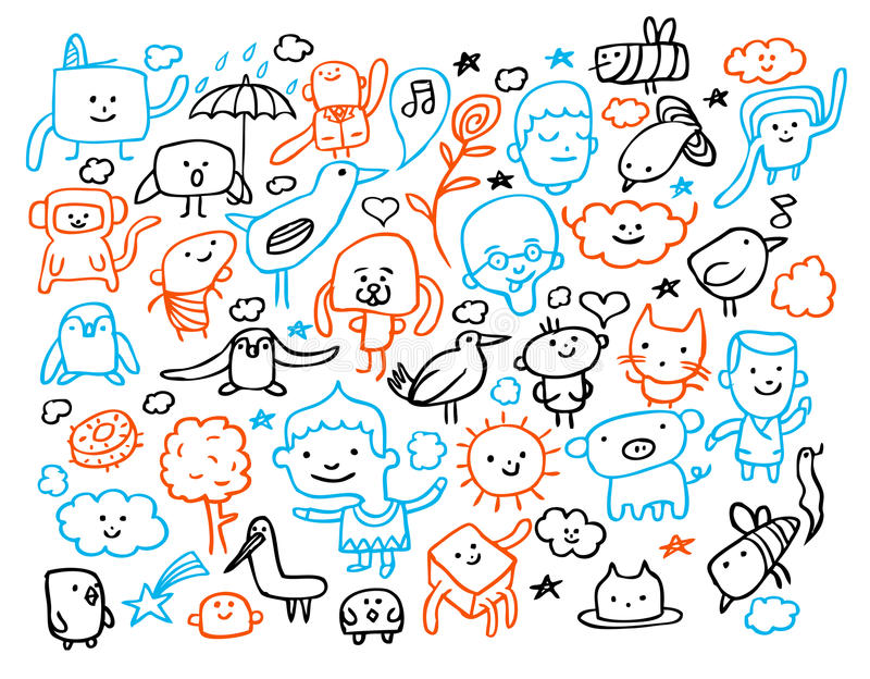 Funny doodles. And characters set. Vector illustration stock illustration