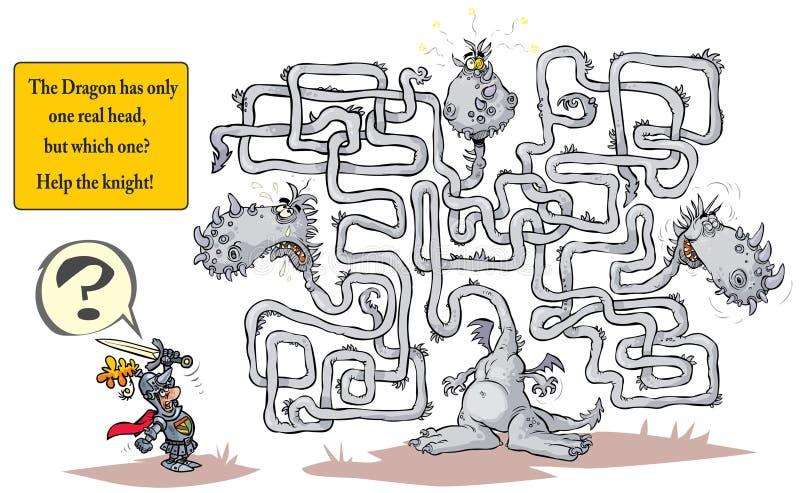 Funny Dragon Maze. stock illustration