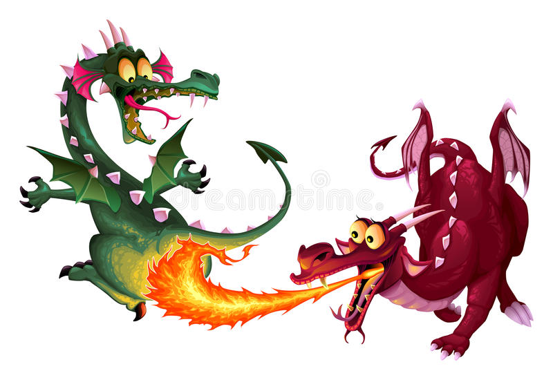 Funny dragons are playing with fire royalty free illustration