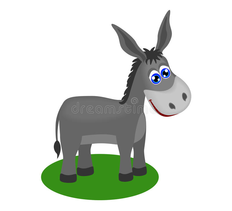 Funny Drawing Of Cute Donkey Stock Image