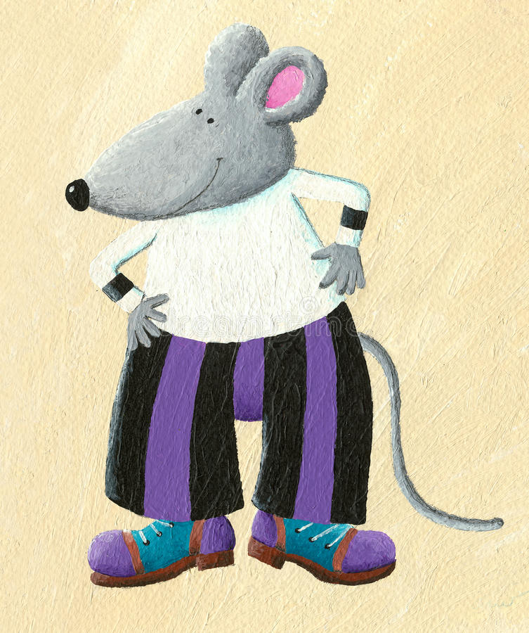 Funny dressed mouse. Acrylic illustration of funny dressed mouse stock illustration