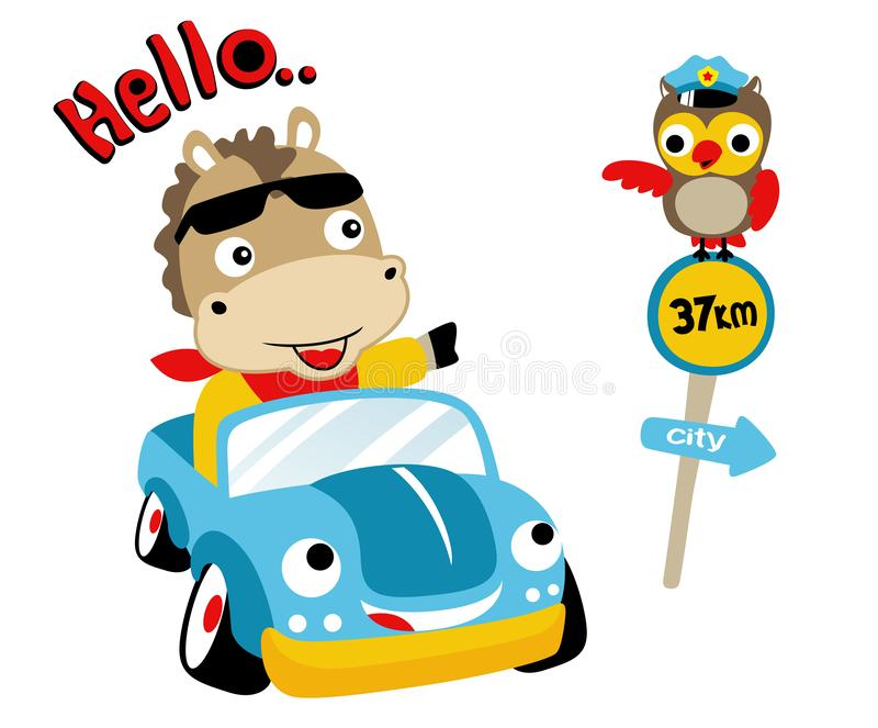 Funny driver on funny car with cute traffic cop stock illustration