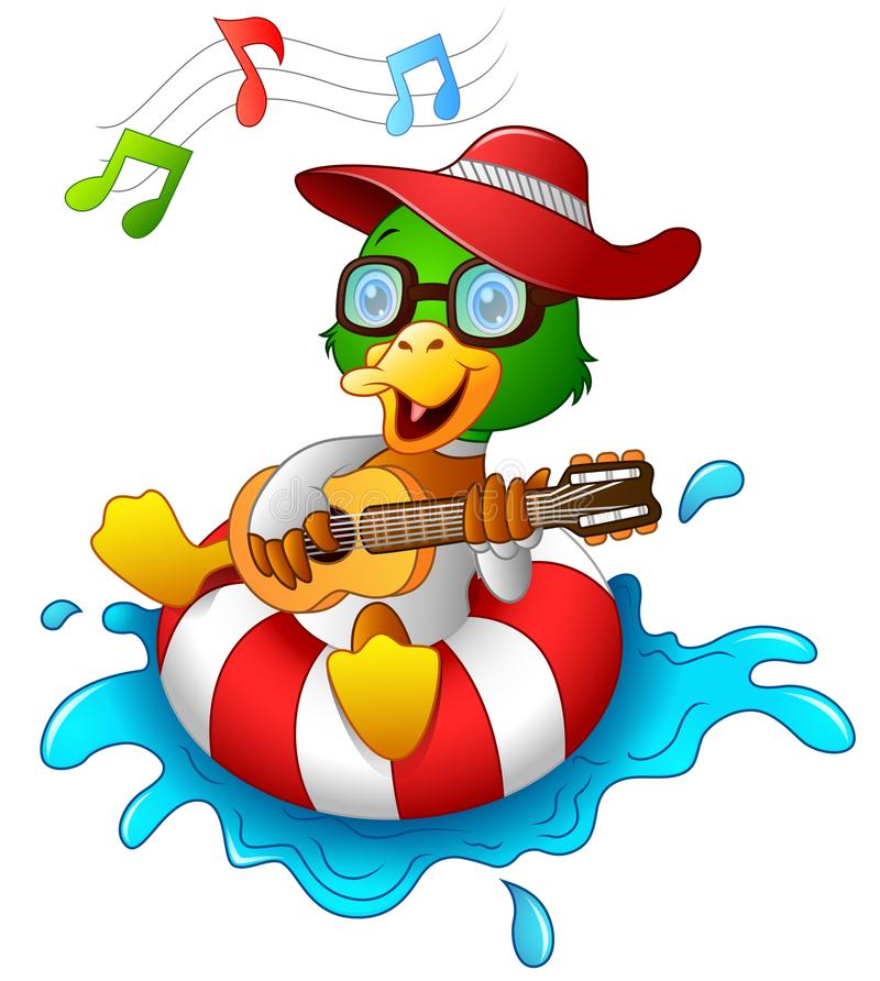 Funny Duck Cartoon Enjoying On The Lifebuoy With Playing