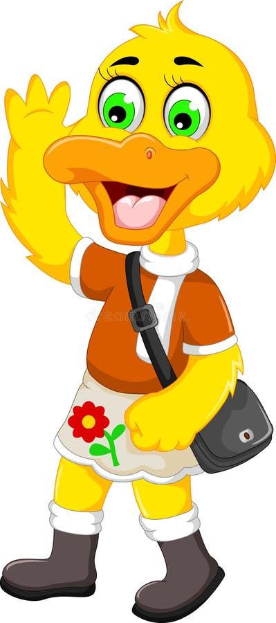 Funny duck cartoon holiday stock illustration